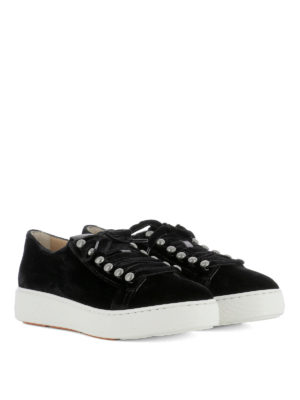 Santoni: trainers online - Black suede low top sneakers