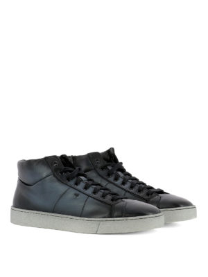 Santoni: trainers online - Blue shaded leather high sneakers