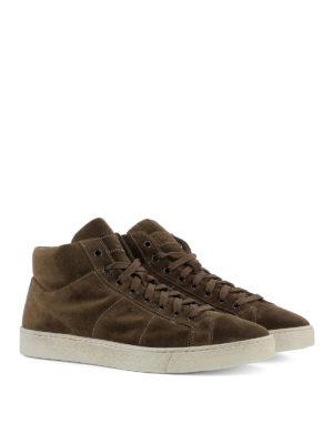 Santoni: trainers online - Brown suede high top sneakers