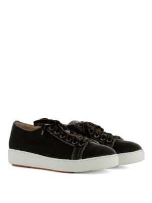 Santoni: trainers online - Brown velvet low top sneakers