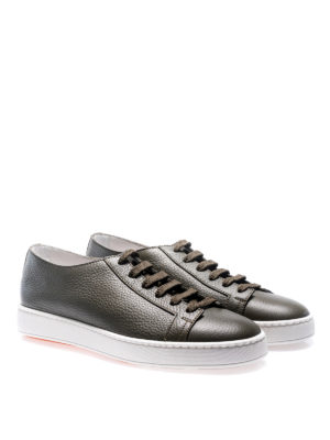 Santoni: trainers online - Green hammered leather sneakers