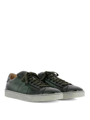 Santoni: trainers online - Green shaded leather low sneakers