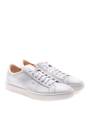 Santoni: trainers online - Total white smooth leather sneakers