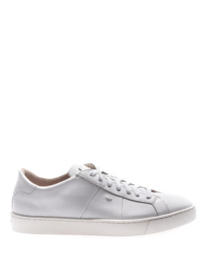 Santoni: trainers - Total white smooth leather sneakers