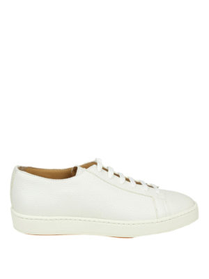 SANTONI: sneakers - Sneaker basse in pelle martellata bianca