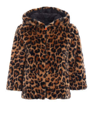Save the Duck: Fur & Shearling Coats - Animal print faux fur short coat