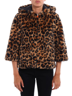 Save the Duck: Fur & Shearling Coats online - Animal print faux fur short coat