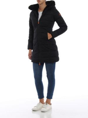 Save The Duck: cappotti imbottiti online - Piumino con cappuccio e bordi in ecopelliccia
