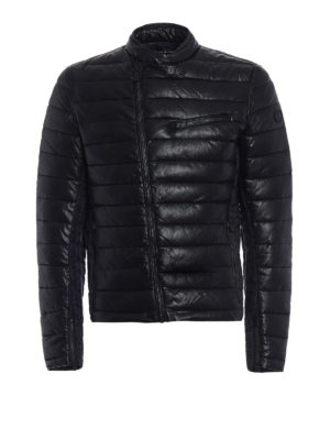 Save the Duck: padded jackets - Fake leather and nylon biker jacket