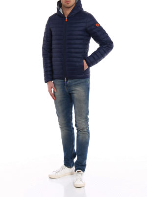 Save the Duck: padded jackets online - Pocketable blue grey puffer jacket