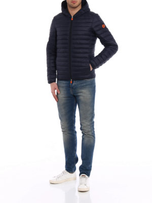 Save the Duck: padded jackets online - Pocketable dark blue puffer jacket