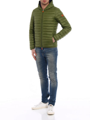 Save the Duck: padded jackets online - Pocketable mud green puffer jacket