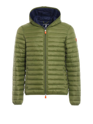 Save the Duck: padded jackets - Pocketable mud green puffer jacket