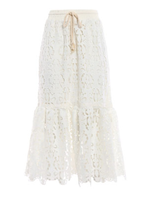 See by Chloé: Knee length skirts & Midi - Broderie anglaise effect midi skirt