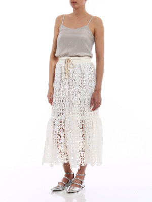 See by Chloé: Knee length skirts & Midi online - Broderie anglaise effect midi skirt