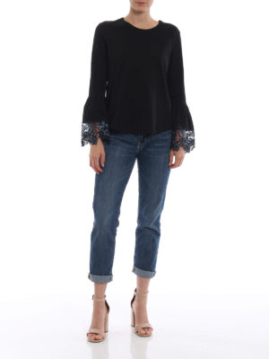 SEE BY CHLOE': t-shirt online - T-shirt nera con polsini a campana in pizzo