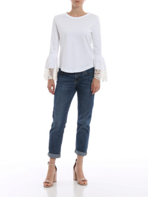 SEE BY CHLOE': t-shirt online - T-shirt bianca con polsini a campana in pizzo