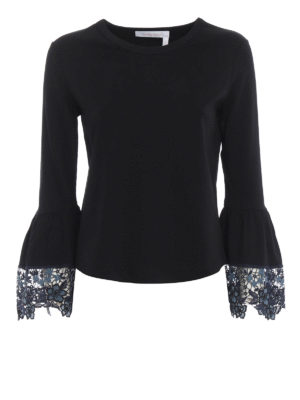 SEE BY CHLOE': t-shirt - T-shirt nera con polsini a campana in pizzo