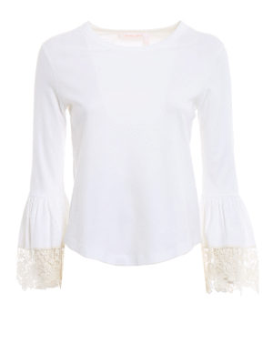 SEE BY CHLOE': t-shirt - T-shirt bianca con polsini a campana in pizzo