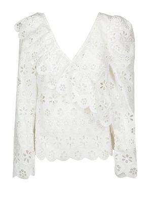 Self Portrait: bluse - Blusa bianca in voile floreale con volant