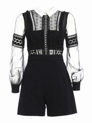 Self Portrait: jumpsuits - Lace and chiffon detailed jumpsuit