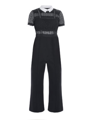 Self Portrait: jumpsuits - LACE TOP DETAILED CREPE JUMPSUIT