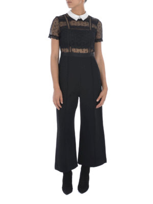 Self Portrait: jumpsuits online - LACE TOP DETAILED CREPE JUMPSUIT
