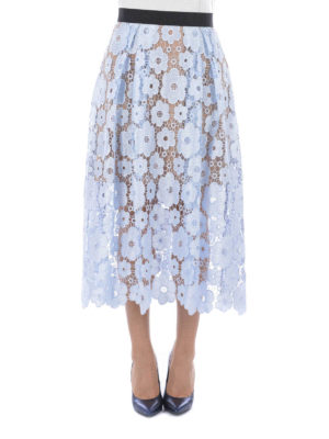 Self Portrait: Knee length skirts & Midi online - FLORAL LACE SKIRT