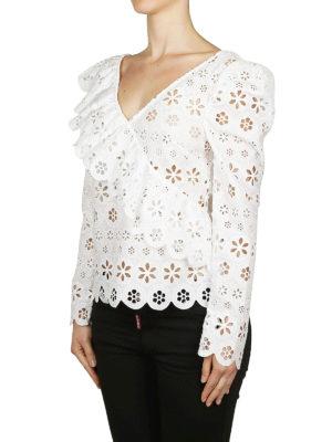 Self Portrait: bluse online - Blusa bianca in voile floreale con volant