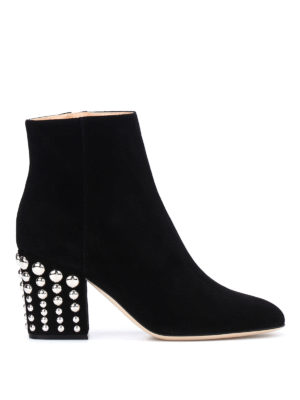 Sergio Rossi: ankle boots - Elettra studded heel suede booties