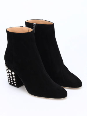 Sergio Rossi: ankle boots online - Elettra studded heel suede booties