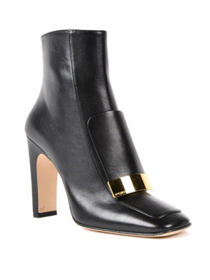 Sergio Rossi: ankle boots online - Sr1 nappa ankle boots with plaque