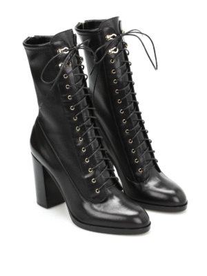 Sergio Rossi: boots online - Stretch leg leather lace-up boots