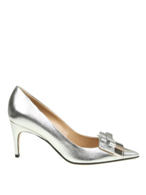 Sergio Rossi: court shoes - Double bow laminated pointy pumps