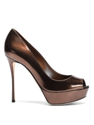 Sergio Rossi: court shoes - Mirror leather wedge pumps
