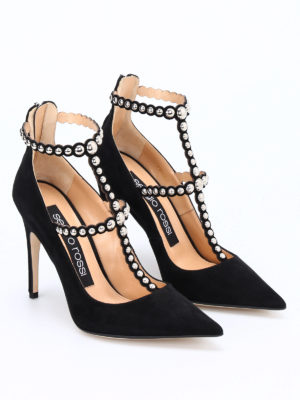 Sergio Rossi: court shoes online - Dafne suede T-bar pumps
