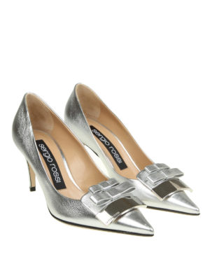Sergio Rossi: court shoes online - Double bow laminated pointy pumps