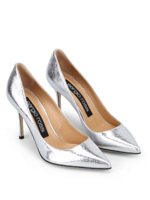 Sergio Rossi: court shoes online - Godiva metallic saffiano pumps