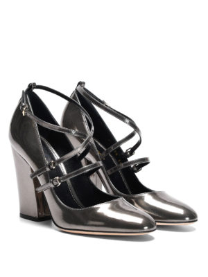 Sergio Rossi: court shoes online - Mirror leather crisscross pumps