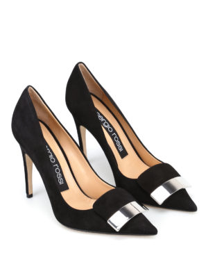 Sergio Rossi: court shoes online - sr1 black suede pumps