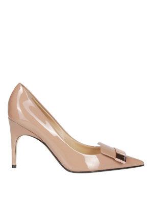 SERGIO ROSSI: scarpe décolleté - Décolleté sr1 in pelle verniciata color carne