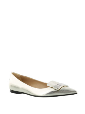 Sergio Rossi: flat shoes online - Sr1 laminated crackle leather flats
