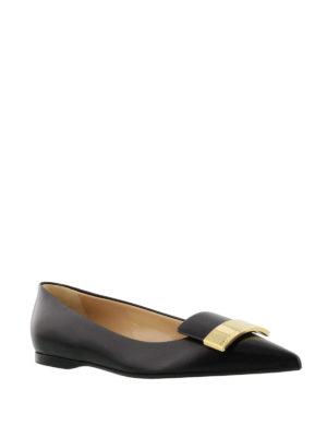 Sergio Rossi: flat shoes online - Sr1 logo plaque nappa flats