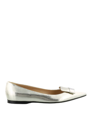 Sergio Rossi: flat shoes - Sr1 laminated crackle leather flats