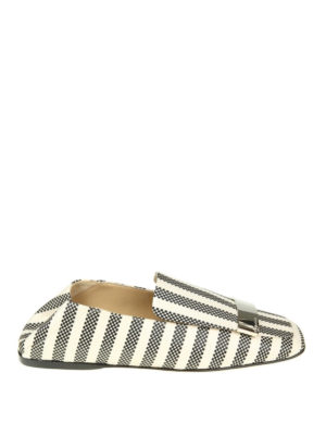 Sergio Rossi: Loafers & Slippers - Bicolour canvas flat slippers