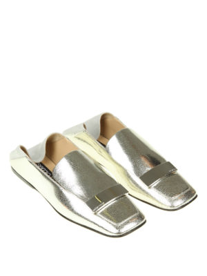 Sergio Rossi: Loafers & Slippers online - Silver leather flat slippers
