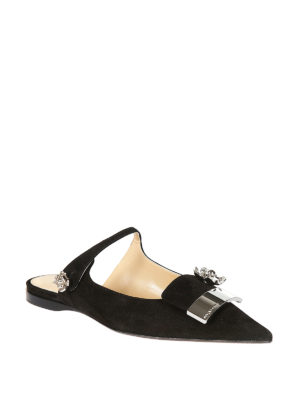 Sergio Rossi: Loafers & Slippers online - sr1 open back suede ballerinas