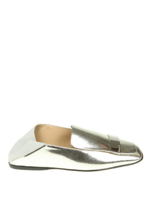 Sergio Rossi: Loafers & Slippers - Silver leather flat slippers