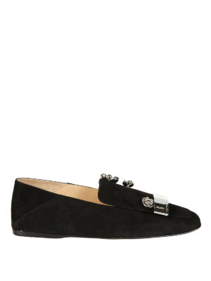 Sergio Rossi: Loafers & Slippers - sr1 jewel suede flat slippers