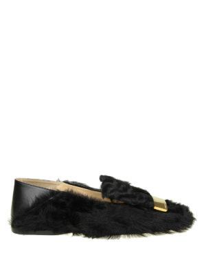 SERGIO ROSSI: Mocassini e slippers - Slipper Sr1 in pelle e pelliccia di pecora